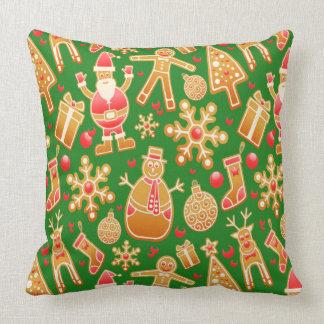 Festive Santa and Snowman Gingerbread Throw Pillow