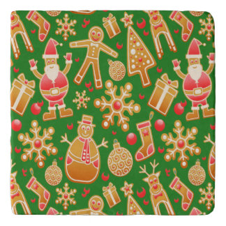 Festive Santa and Snowman Gingerbread Trivet