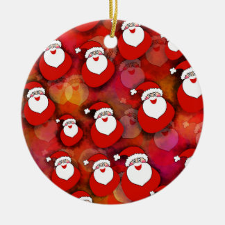 Festive Santa Claus Pattern Ceramic Ornament
