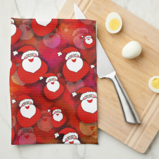 Festive Santa Claus Pattern Kitchen Towel