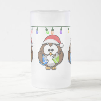 festive santa owl frosted glass beer mug