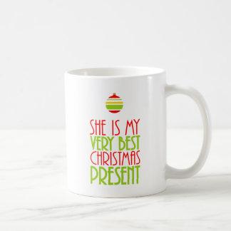 "Festive ""She is My Very Best Christmas Present"" Coffee Mug"