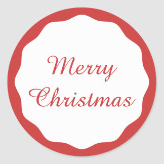 Festive Simple Merry Christmas Red Scallop Border Classic Round Sticker