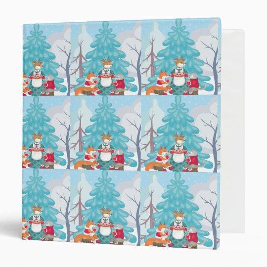 festive snow creatures 3 ring binder