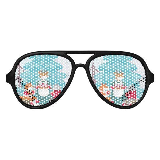 festive snow creatures aviator sunglasses