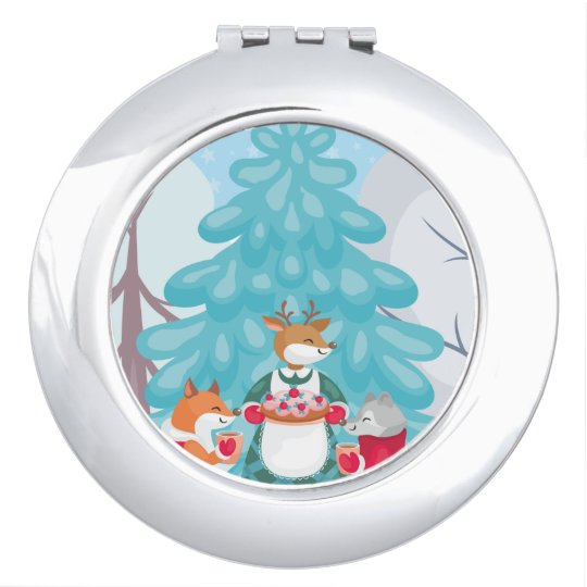 festive snow creatures compact mirrors