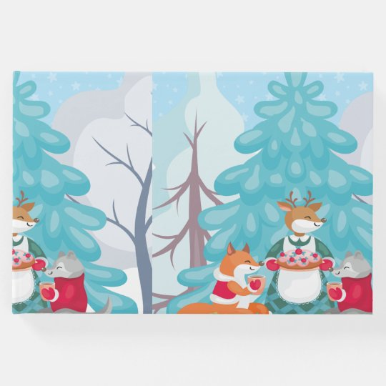 festive snow creatures guest book