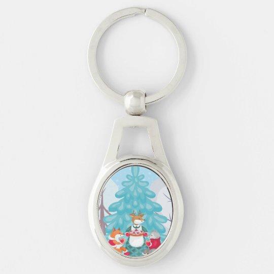 festive snow creatures keychain