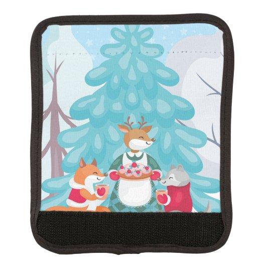 festive snow creatures luggage handle wrap
