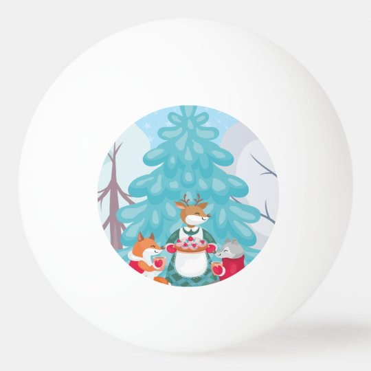 festive snow creatures ping pong ball