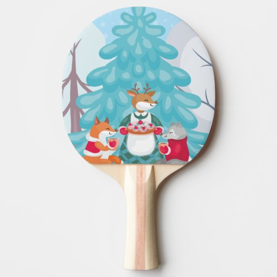 festive snow creatures ping pong paddle