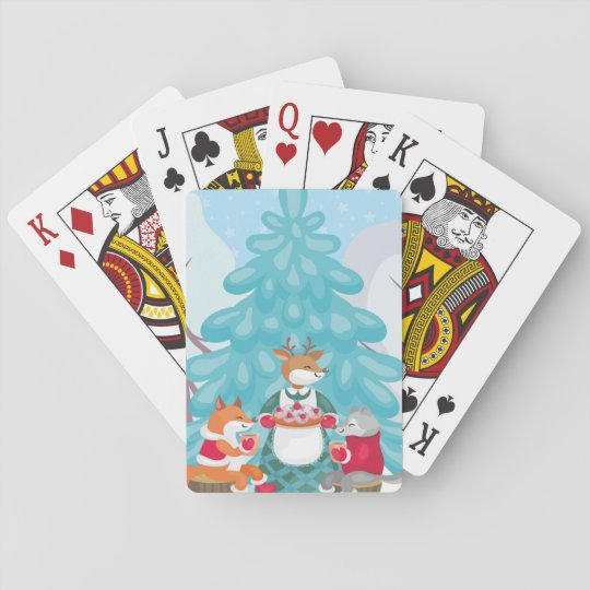 festive snow creatures playing cards