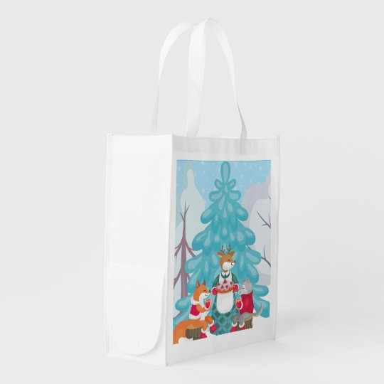 festive snow creatures reusable grocery bag