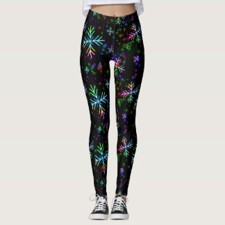 Festive Snowflake Christmas Lights Neon Leggings