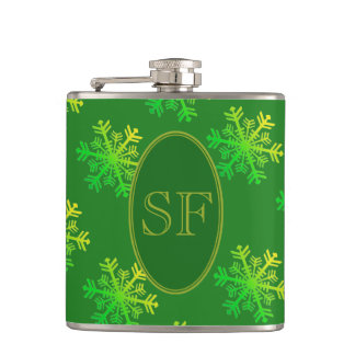 Festive Snowflake Green and Gold Monogram Hip Flask