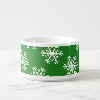 Festive Snowflake Green and White Bowl