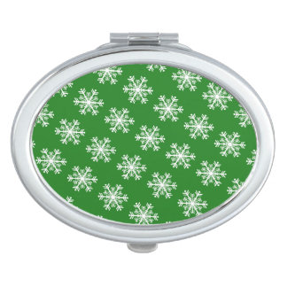 Festive Snowflake Green and White Compact Mirror