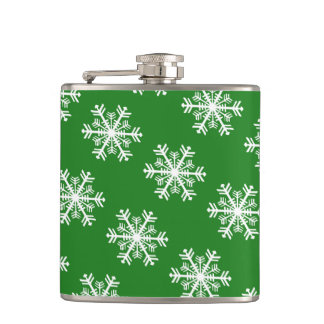 Festive Snowflake Green and White Hip Flask