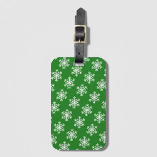 Festive Snowflake Green and White Luggage Tag