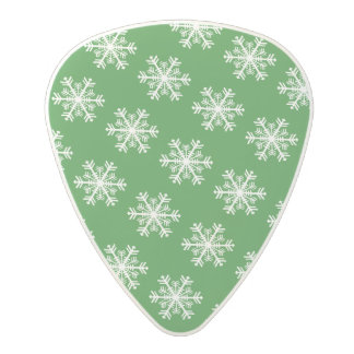 Festive Snowflake Green and White Polycarbonate Guitar Pick