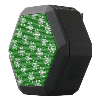 Festive Snowflake Green & White Black Bluetooth Speaker