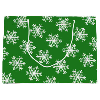 Festive Snowflake Green & White Large Gift Bag