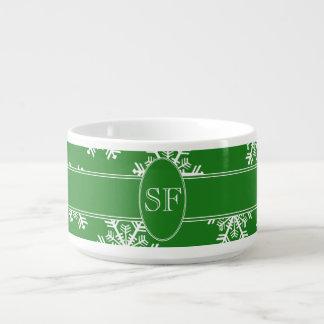Festive Snowflake Green & White Monogram Bowl