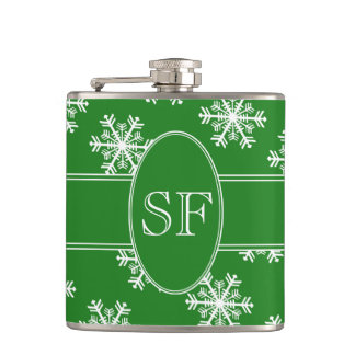 Festive Snowflake Green & White Monogram Hip Flask