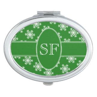 Festive Snowflake Green & White Monogram Mirror For Makeup