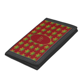 Festive Snowflake Red Green Gold Monogram Trifold Wallet