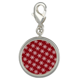 Festive Snowflake Red & White Charms