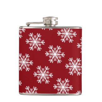 Festive Snowflake Red & White Hip Flask