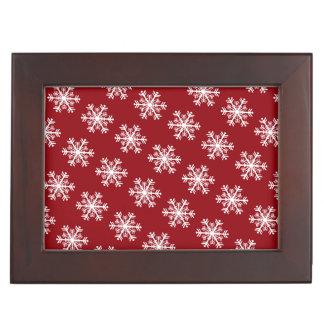 Festive Snowflake Red & White Keepsake Box
