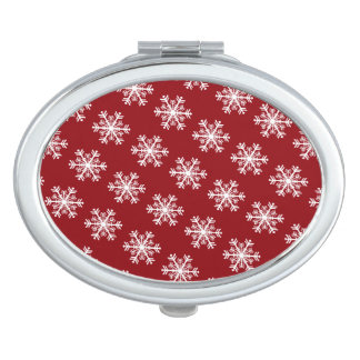 Festive Snowflake Red & White Mirror For Makeup