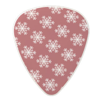 Festive Snowflake Red & White Polycarbonate Guitar Pick