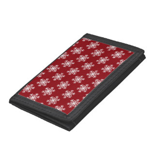 Festive Snowflake Red & White Trifold Wallets