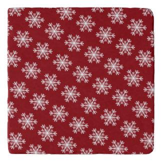 Festive Snowflake Red & White Trivet