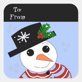 Festive Snowman Square Sticker