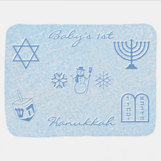 Festive Sparkle Baby's First Hanukkah Personalized Baby Blanket