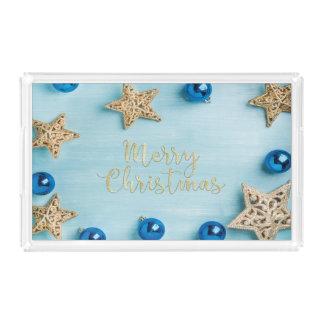 Festive Stars Baubles Merry Christmas Glitter Acrylic Tray