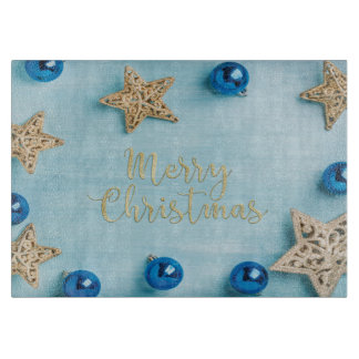 Festive Stars Baubles Merry Christmas Glitter Cutting Board