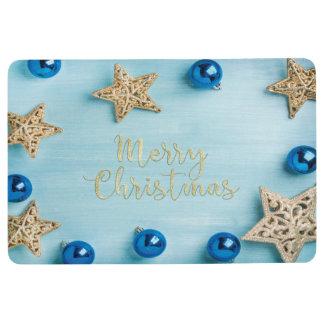 Festive Stars Baubles Merry Christmas Glitter Floor Mat