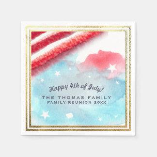 Festive Stars & Stripes Custom Red White & Blue Paper Napkin
