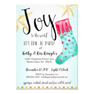 Festive Stocking & Stars Holiday Party Card