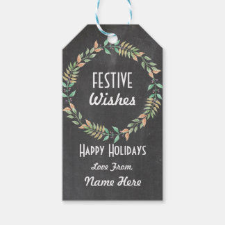 Festive Tags Christmas Xmas Wreath Gift Tags Merry