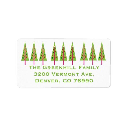 Festive Trees Christmas Address Label