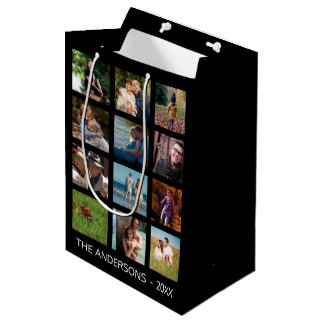 Festive Twelve Image Photo Template Black Collage Medium Gift Bag