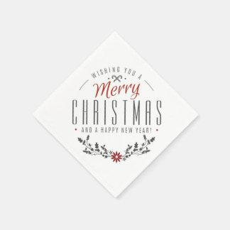 Festive Typography Merry Christmas Paper Napkin