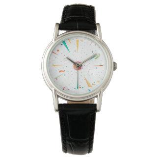 Festive watch with colorful confetti designs