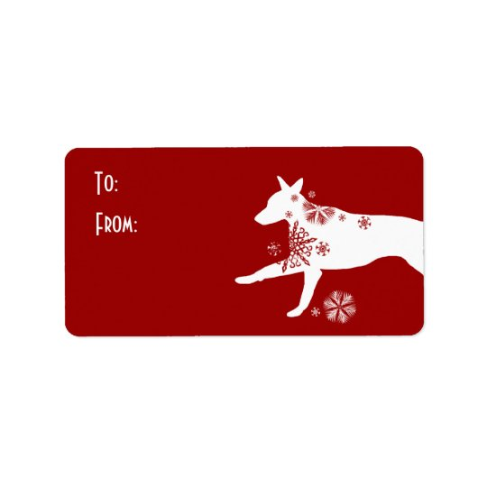 Festive White and Red Dog Gift Tag